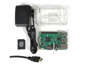 Raspberry Pi 3 MakerBrightTM Model B Select Kit w/Raspberry Pi 3, Clear Case, 5.25V 2.4A PSU, 8GB NOOBS MicroSD, 6' HDMI 1.4 Cable
