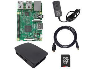 MakerBright™ Raspberry Pi 3 Deluxe Kit w/Raspberry Pi 3, Official Raspberry Pi Case (Black), 5.1v 2.4A PSU, 8GB NOOBS SanDisk Class 10 MicroSD, 6' HDMI 1.4 Cable