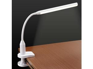 LED Clamp Desk Lamp, Fully Dimmable, Neutral Eye-friendly Study Light, Touch Sensitive Control, 360° Flexible Gooseneck, Memory Function, USB Charger + AC Power Adapter