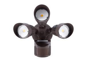 LEONLITE LED Security Lights Motion Sensor Light Outdoor, 3-Head Flood Light, 30W(250W Equiv.), IP65 Waterproof, 3000K Warm White, ETL & DLC Listed Outdoor Lighting, Bronze