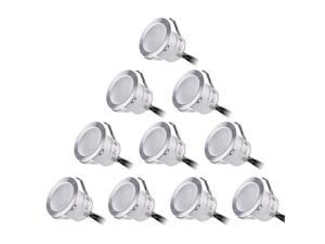 TORCHSTAR 10 Pack LED In Ground Lighting, IP67 Waterproof, 3000K Warm White, Recessed Deck Light Kit for Steps, Stairs, Patios, Gardens, Outdoor Landscape Lighting