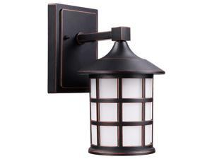 LEONLITE LED Outdoor Wall Light, 9W (60W Eqv.), Vintage Style Black Metal Cage & Frosted Glass, 3000K Warm White, 500 Lumens, Integrated Wall Lantern for Front Doors, Porches