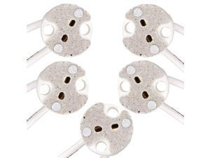 5pcs Pack Mini Bi-Pin Socket up to 75 Watts Ceramic Body with Mica Covers for Light Bulbs with Base GU5.3, G4, MR11, MR16