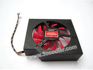 NTK FD8015U12S 12V 0.5A 4 Wires with Black Cover Replacement XFX RADEON HD 6950 Cooler Fan