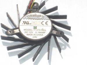 EVERFLOW T127010SL 12V 0.18A 3 wires 3 pins 15 baldes black frameless vga fan graphics card cooler