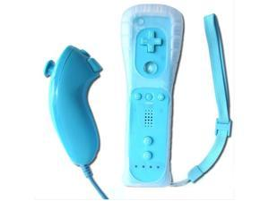 Wireless Remote + Silicone Case + Nunchuck Controller Set for Nintendo Wii - Blue (Althemax)