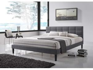 Lexington Queen-Size Square Tufted Upholstered Platform Contemporary Bed in Gray Fabric