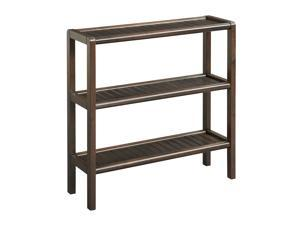 NewRidge Home Solid Wood Abingdon Console, Stand, Bookcase, Shoe Rack, 3 Tier, Espresso