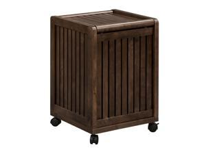 NewRidge Home Solid Wood Abingdon Mobile (Rolling) Laundry Hamper with Lid, Espresso