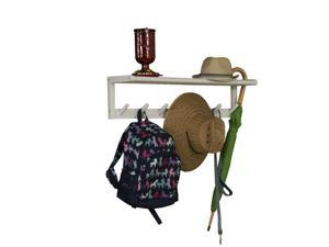 NewRidge Home Solid Wood Abingdon Large Peg Rack with Shelf, Sturdy Wall Mounted Wooden Coat Rack, White