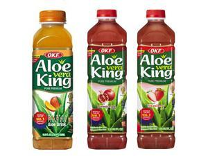 Aloe Vera King, Mango, Pomegranate & Strawberry, 50.7-Ounce Bottles (Pack of 12 each)