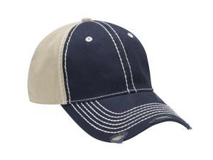 ADAMS RAMBLER- Two Tone Distressed Cap with Heavy Stitching ACRM102NYKH001