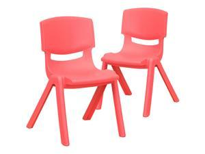 """2 Pack Red Plastic Stackable School Chair with 12"""" Seat Height"""