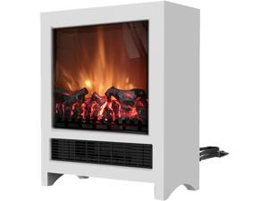 19-In Freestanding 4606 BTU Electric Fireplace with Wood Log Insert, White