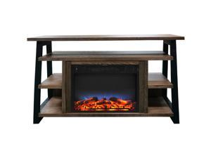 32-In. Sawyer Industrial Electric Fireplace Mantel with Realistic Log Display and LED Color Changing Flames, Walnut