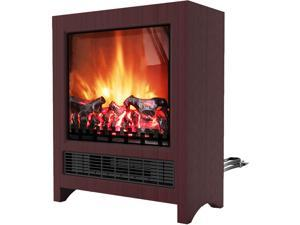 19-In Freestanding 4606 BTU Electric Fireplace with Wood Log Insert, Mahogany