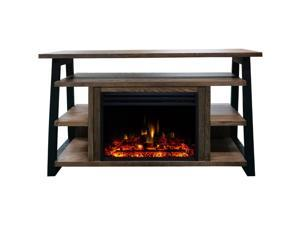 32-In. Sawyer Industrial Electric Fireplace Mantel with Enhanced Log Display and Color Changing Flames, Walnut