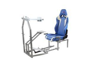 CRJ Flight Simulator Silver Frame with Blue/White Seat