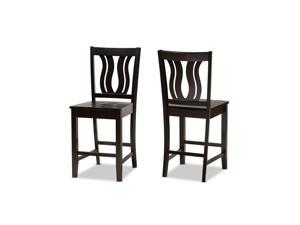 Baxton Studio Fenton Modern and Contemporary Transitional Dark Brown Finished Wood 2-Piece Counter Stool Set