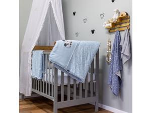 Disney Baby Blue Mickey Mouse Starry Night Cotton 3 Piece Crib Bedding Set