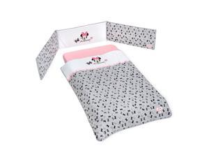Disney Pink Minnie Mouse Cotton 3 Piece Crib Bedding Set For Girls