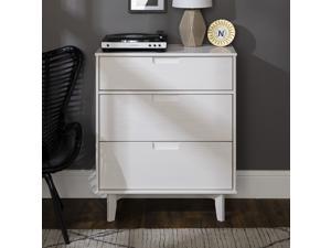 3-Drawer Groove Handle Wood Dresser - White