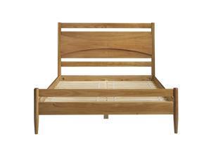 Atticus Beveled Headboard Solid Wood Queen Bed - Caramel