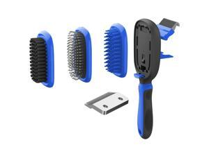 Pet Life  'Conversion' 5-in-1 Interchangeable Dematting and Deshedding Bristle Pin and Massage Grooming Pet Comb - One Size / Blue