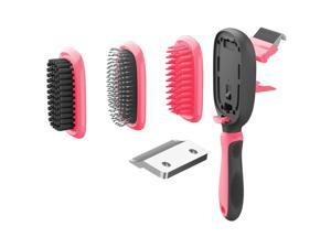 Pet Life  'Conversion' 5-in-1 Interchangeable Dematting and Deshedding Bristle Pin and Massage Grooming Pet Comb - One Size / Pink