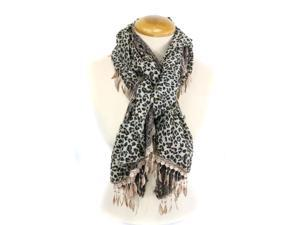 BROWN CHEETAH PRINT AND LACE SCARF WITH TASSELS(MSF150-6-04)