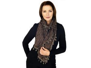 BROWN FASHION LACE VINTAGE SCARF WITH TASSELS(QH-344-5-01)