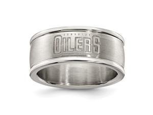 EDMONTON OILERS STAINLESS STEEL LOGO BAND RING SIZE 6