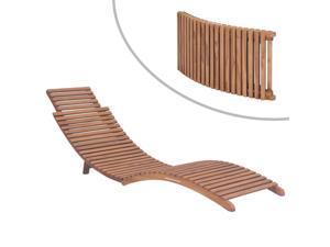 vidaXL Folding Sun Lounger Solid Teak Wood (Set of 2)