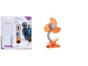 Dreambaby Baby Stroller Hanger, Heavy Duty Metal Hook Organizer and Stroller Fan, Orange Silver