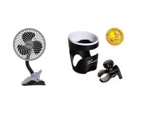 Dreambaby Caged Deluxe EZY-Fit Clip On Fan, Black and Strollerbuddy Drink Cup Holder, Black/White
