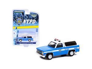 """1985 Chevrolet K-5 Blazer Light Blue and White \New York City Police Department\ (NYPD) \""""Hobby Exclusive\"""" 1/64 Diecast Model Car by Greenlight"""""""""""""""
