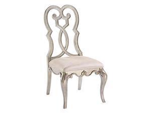 Ergode Side Chair (Set-2) Ivory Velvet & Antique Champagne Finish