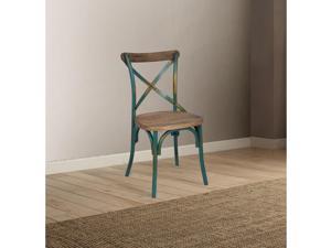 Ergode Side Chair (1Pc) Antique Turquoise & Antique Oak