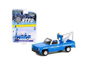 """1987 GMC Sierra K2500 Tow Truck with Drop in Tow Hook Blue with White Top \New York City Police Dept\ (NYPD) \""""Hobby Exclusive\"""" 1/64 Diecast Model Car by Greenlight"""""""""""""""