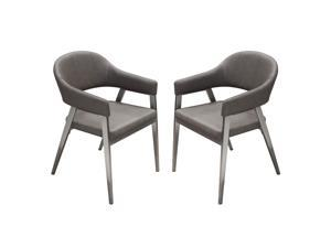 Adele Set of Two Dining/Accent Chairs in Grey Leatherette w/ Brushed Stainless Steel Leg by Diamond Sofa