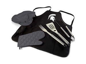 Picnic Time 635-88-179-354-0 Michigan State Spartans Digital Print BBQ Apron Grill Tool Set Tote Pro Bag, Black