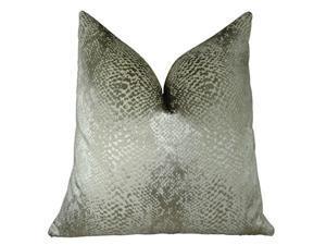 "Plutus Hidden World Silver Handmade Throw Pillow, (Double sided  22"" x 22"")"