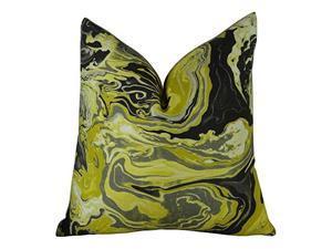 """Plutus Medici Marble Ink Handmade Throw Pillow, (20"""" x 36"""" King)"""