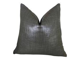"Plutus Glazed Linen Indigo Handmade Double Sided Throw Pillow, (Double sided  24"" x 24"")"