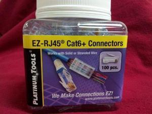 Platinum Tools EZ-RJ45 Cat 6 Plus Connector, Jar of 100.