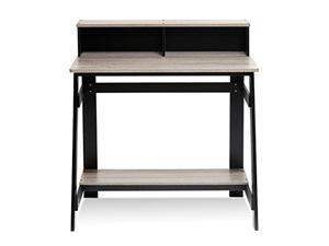 Furinno 14054BK/GYW Simplistic A Frame Computer Desk, Black/French Oak Grey
