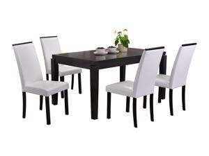 Pilaster Designs - Black Finish Wood Dining Dinette - Kitchen Table & 4 White Parson Chairs
