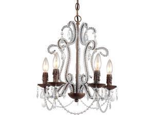 "Beloved Mini Chandelier, 5-60W Candle Bulbs, 19""HX22""W, Hardwire Option"