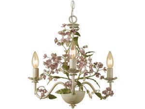 "Grace Mini Chandelier, 3-60W Candle Bulbs, 15""HX20""W, Hardwire Only"
