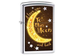 Zippo Love Moon, High Polish Chrome, Color Image Windproof Pocket Lighter 29059